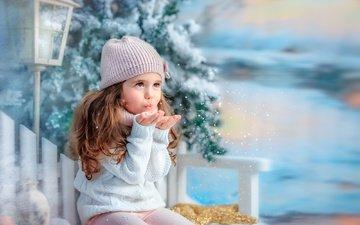 snow, tree, winter, snowflakes, children, girl, lantern, child, bench