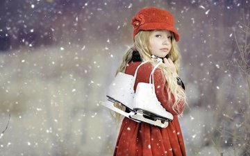 snow, winter, blonde, branches, look, girl, child, hat, curls, skates, coat