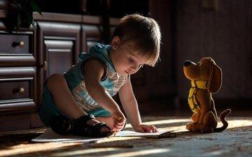 собака, дети, игрушка, комната, волосы, лицо, ребенок, мальчик, юный художник, олег адамцевич