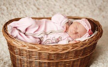сон, девочка, корзина, ребенок, костюм, младенец, малышка
