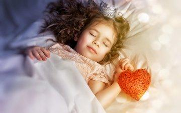 sleep, children, girl, heart, hair, face, child, crown, princess, bokeh