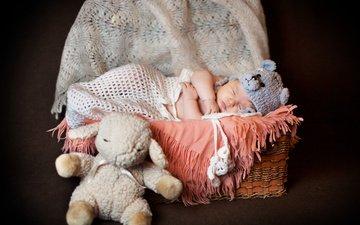 sleep, toy, basket, child, baby, cape, cap, sheep