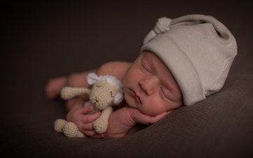 сон, игрушка, ребенок, малыш, младенец, шапочка, овечка