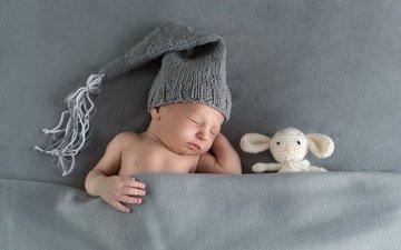 sleep, toy, child, blanket, baby, cap