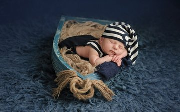 сон, лодка, ребенок, малыш, веревка, ковер, младенец, шапочка, колпачок