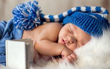 сон, ребенок, малыш, младенец, шапочка, мех, книжка, колпачок