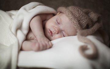 сон, ребенок, малыш, младенец, шапочка, постель