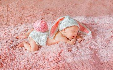 sleep, ears, child, baby, carpet, cap, fur, bunny, ponytail