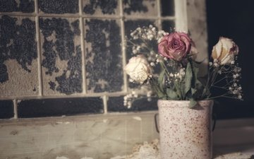 цветы, стиль, винтаж, розы, букет, гипсофила