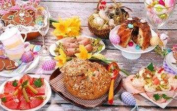 стол, хлеб, мясо, пасха, яйца, кулич, закуски, сервировка, ассорти, колбаски