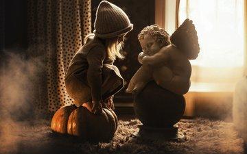 curtains, girl, angel, room, child, sculpture, pumpkin