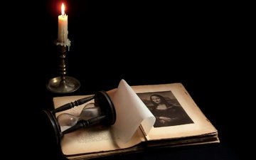 flame, black background, candle, book, mona lisa, hourglass, page, sergey alekseev