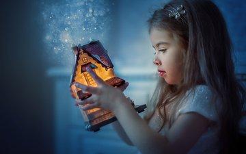 light, girl, toy, house, child, bokeh, baby