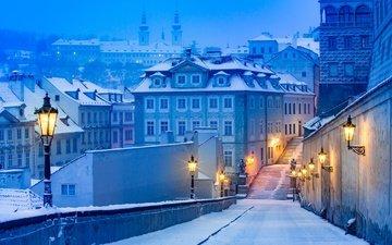 свет, фонари, снег, зима, город, дома, улица, прага, чехия