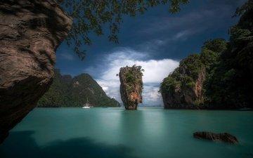 острова, лодка, тайланд, остров, курорт, таиланд, тропики, james bond island, кхао пинг кан