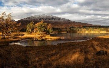 трава, облака, деревья, озеро, горы, берег, шотландия