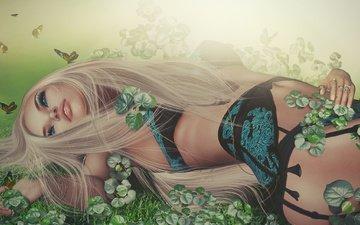 трава, природа, листья, девушка, блондинка, графика, бабочки, макияж, белье, 3д