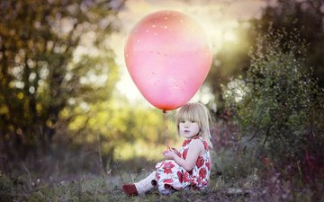 grass, nature, dress, the bushes, girl, child, balloon
