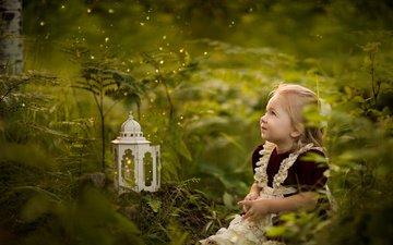 grass, nature, greens, dress, children, girl, lantern, hair, face, child, anneli rose