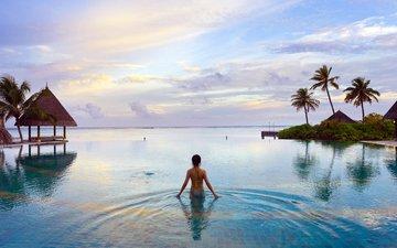 девушка, море, отдых, тропики, мальдивы