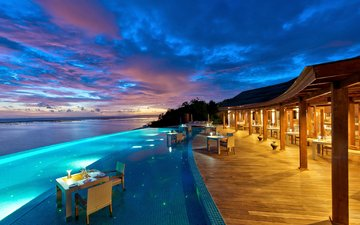 the evening, sea, stay, resort, tropics, the maldives