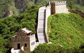 горы, холмы, китай, великая китайская стена, растительность