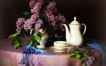 ветки, стол, чашка, чай, чайник, кувшин, сирень, скатерть, шарф