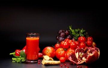 зелень, виноград, фрукты, апельсин, овощи, стакан, помидоры, перец, томаты, гранат, сок