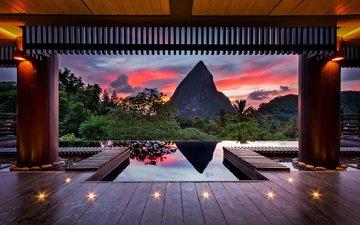 вода, горы, пейзаж, бассейн, терраса, тропики