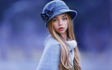 взгляд, девочка, ребенок, локоны, шляпка, свитер