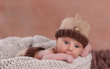 взгляд, ребенок, малыш, младенец, шапочка