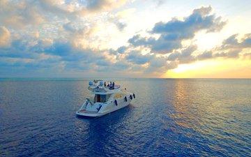 закат, море, яхта, отдых