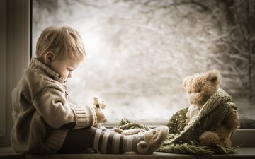 winter, children, bear, toy, child, window, boy, baby, scarf, sill, iwona podlasinska