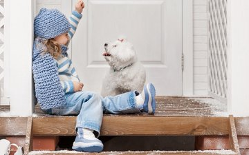 winter, dog, girl, the game, child, porch