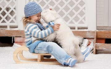 winter, dog, joy, girl, the game, child, sled, laughter