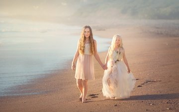 берег, море, песок, пляж, дети, волосы, лицо, девочки, платья