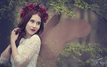 flowers, girl, mood, branches, roses, fairy, wreath, moth, wings, shanou elise