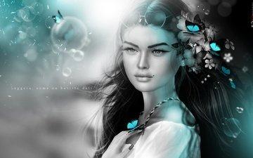 цветы, девушка, настроение, волосы, бабочки, родинка