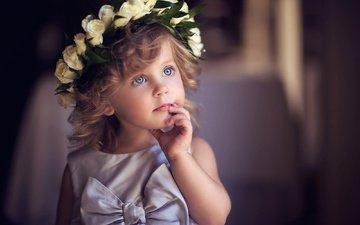 цветы, платье, взгляд, дети, девочка, волосы, лицо, ребенок, венок, бант, малышка, sergey bidun