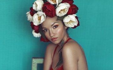 flowers, girl, portrait, look, hair, face, wreath