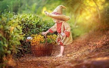 цветы, природа, кусты, лето, дети, тропинка, птица, корзина, ребенок, шляпа, гусь, рубашка, штаны