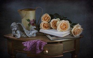цветы, розы, книги, статуэтка, ангел, кувшин, столик, натюрморт, ящик
