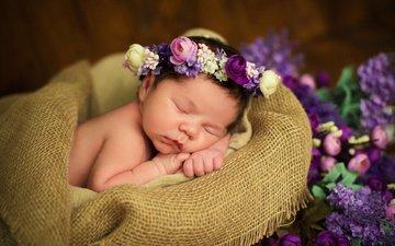 цветы, сон, девочка, ткань, ребенок, младенец, венок, мешковина