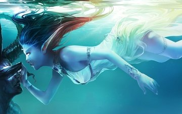 girl, look, the demon, under water, hair, elf, blue background