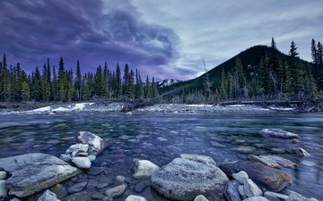 небо, деревья, река, горы, природа, камни, пейзаж