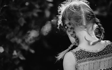 black and white, children, girl, back, braids