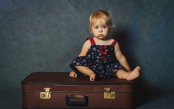 дети, девочка, волосы, лицо, ребенок, чемодан, малышка