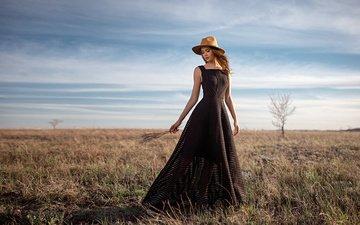 небо, девушка, платье, поле, брюнетка, модель, шляпа, георгий чернядьев