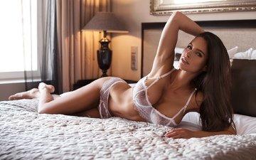 девушка, модель, грудь, позирует, в белье