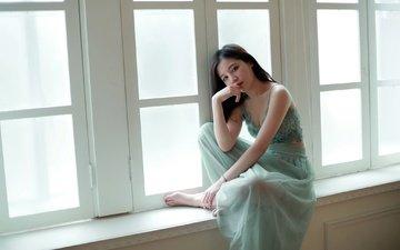 девушка, настроение, взгляд, окно, азиатка